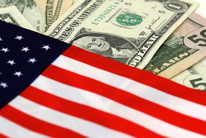 American flag and currency.