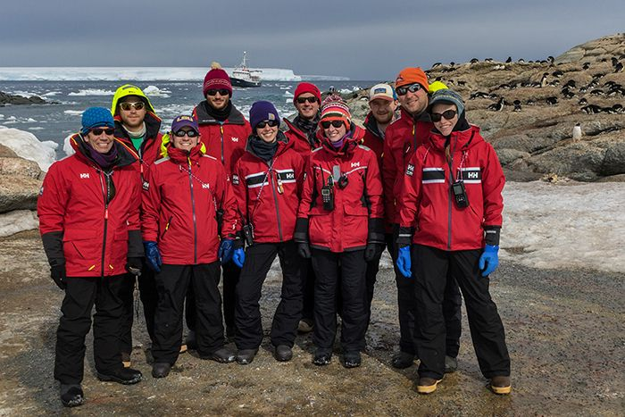 Danger Islands Expedition team members on Heroina Island, Danger Islands, Antarctica.