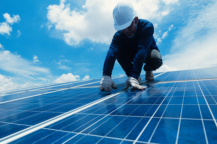 Worker maintaining solar panel
