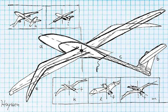 Illustration of bird-like aircraft