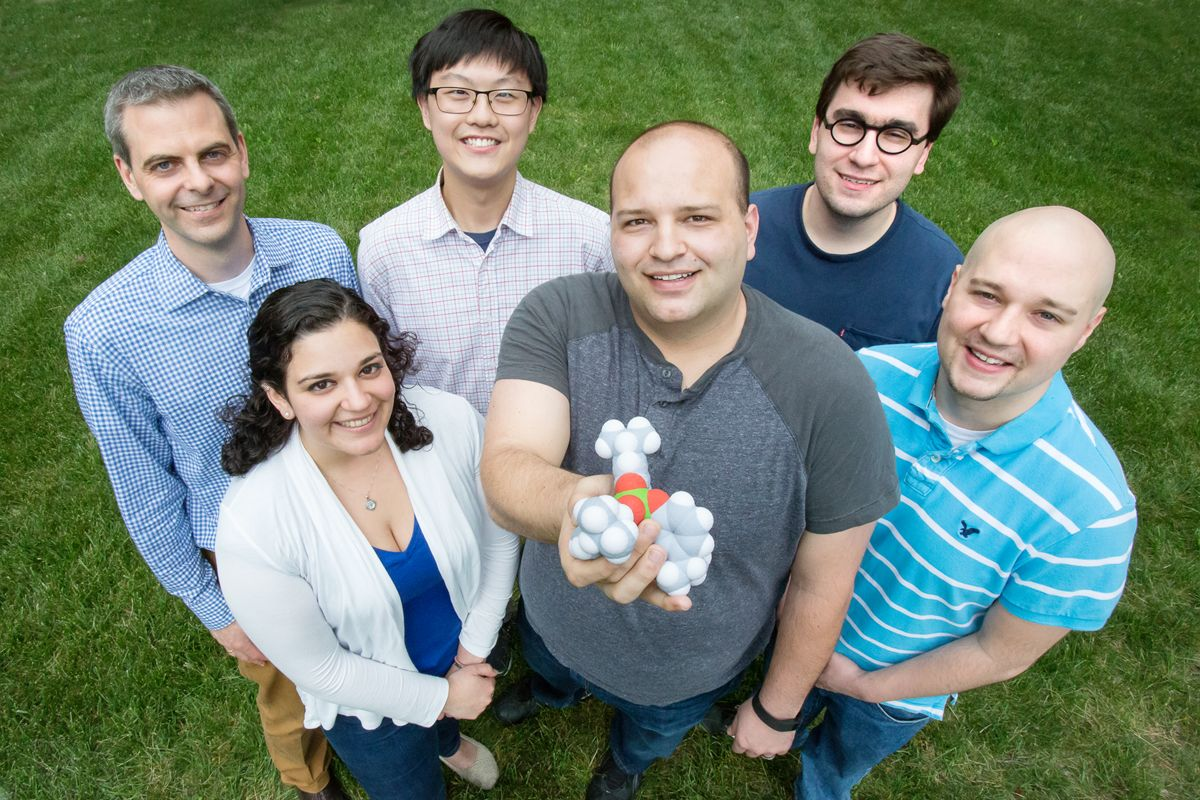 Chemistry professor Martin Burke, undergraduate students James Fan and Chris Nardone, graduate students Anna SantaMaria, Anthony Grillo and Alexander Cioffi.