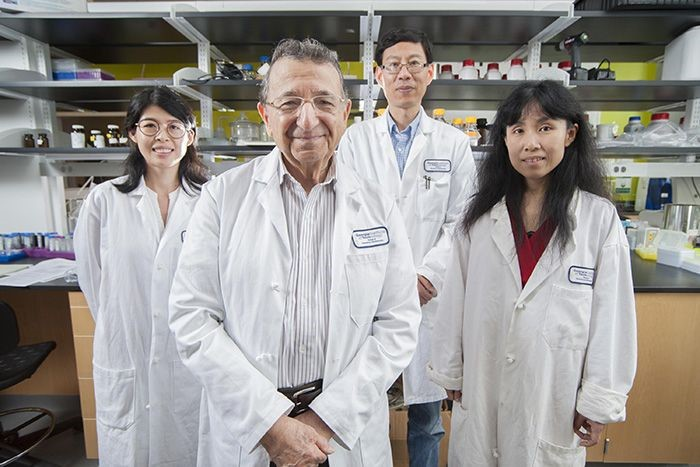 Georgia Tech's Regents Professor Mostafa El-Sayed (front) with his team for this research from left to right: Yue Wu, Professor Ronghu Wu, and Yan Tang.