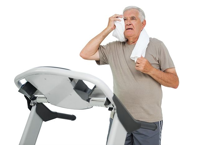 Senior exercising on a treadmill