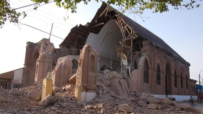A church following an earthquake