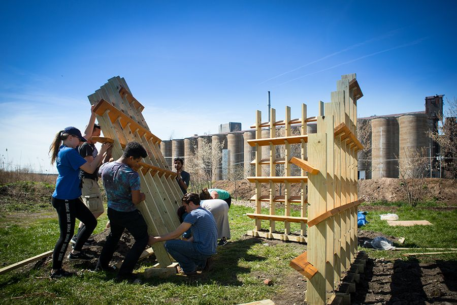 Most of the groups pre-fabricated the lumber for their structures in the School of Architecture and Planning's Fab Lab and then trucked the wood to Silo City, where the pieces could then be put together.